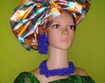 Multi-color Satin Statement Gele