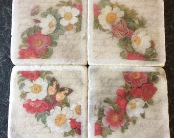 Roses & Butterflies! Set of 4 Marble Coasters