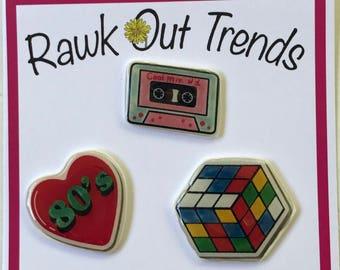 I Love 80's Pin Set, Cassette Tape Pin Set, Rubrics Cube Pins, Pins for Jackets, Lapel Pins, Plastic Pins, Brooch, Tumblr Pins,