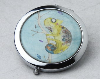Chameleon - Small Mirror - Round Mirror - Compact Mirror - Hand Mirror - Magnifying Mirror - Blue Mirror - Teenager Gift - Womens Gift
