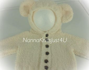 Knitted baby chunky fleece teddy jacket 0-6 months