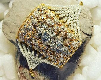 Asian wedding style bridal pearl cuff bracelet