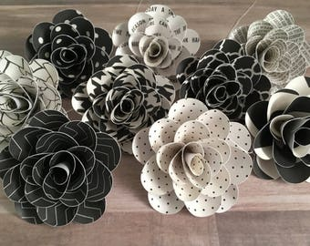 Paper Flowers, Black and White Flowers, Flower Decor, Flower Garland, Black and White Decor, Wall Decor, Party Garland, Garden Party