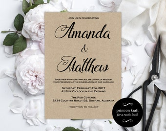 Printable Wedding Invitations -  Kraft Wedding Invitation - Editable Wedding Invitation - Editable Text - Downloadable Wedding #WDH0178
