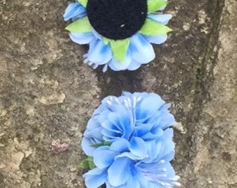 Flower attachment for the headbands - blue flowers