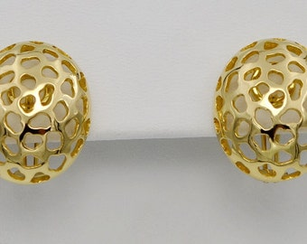 18k Gold Leopard Print Clip & Post Earrings