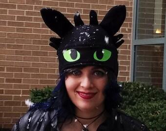 Adult Dragon Costume Hat – Adult Dragon Hat – Black Dragon Costume Hat – Adult Fleece Dragon Hat – Adult Size Fleece Dragon Costume Hat
