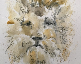 "Original pen and ink drawing with watercolor wash ""Leo"""