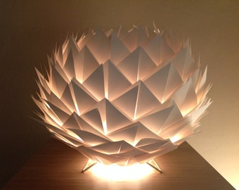 Lamp table/night light in white cream color paper