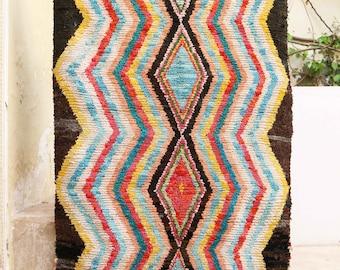"4'1"" x 6'3"" feet Boucherouite Rug BO1144. Vintage Moroccan Rug. BO1144"