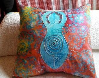 Say it Softly, Decorative Pillow, Gift, Goddess Pillow, Spiral Goddess, Pagan, Wiccan, Batik, Hippie, Spiritual, Multicolored