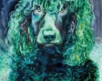 Canvas Print, Irish Water Spaniel, Dog Canvas Print, Puppy Print, Home Decor, Watercolor, Original, Dog, Wall Hanging, Canvas, Prints, Art