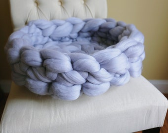 Cat Bed, Chunky Knit Cat Bed, Small Dog Bed, Medium Dog Bed, Merino Wool Cat Bed, Chunky Knit Basket For Animals