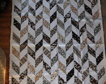 Twin / Single, Brown Herringbone, Handmade Quilt, Brown, 74.5 x 87.5