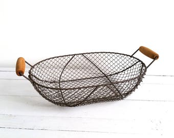 Wood and wired metal basket