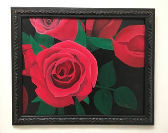 Red Roses Top View - Original Oil Painting, close up, macro, red, black, green, wall decor, Valentine's Day, Anniversary, romantic, girl