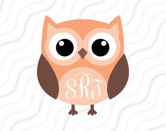 Cute Owl Monogram SVG, Owl SVG, Owl Monogram SVG Cut table Design,svg,dxf,png Use With Silhouette Studio & Cricut_Instant Download