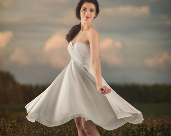 Dionysus dress,white knee length chiffon dress, bridesmaid dress,wedding dress,chiffon dress, party dress, full circle dress,cross top dress
