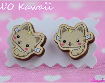 Boucles d'oreilles chat-licorne
