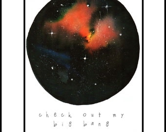 Limited edition personalised celestial sphere, nebula, space watercolour print A3