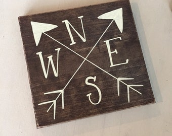 COMPASS, COMPASS wood sign, rustic compass, travel nursery sign, travel sign, adventure sign