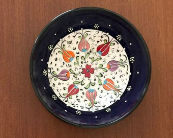 "Turkish hand made caremic Navy blue. The diameter of the bowl is measures 4,7"" inhecs (12cm) height 1,6"" inches (4cm)"