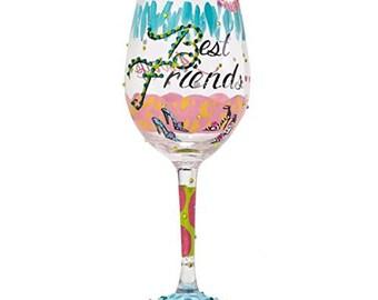 "Lolita Wine Glass ""Best Friends Always"""