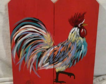 Colorful Rooster pallet wood wall plaque. Handpainted