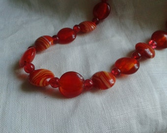 Red and orange glass beaded necklace