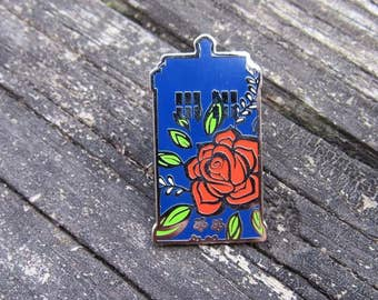 Rose Tardis pin, floral tardis pin, doctor who pin