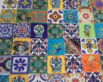 MEXICAN TALAVERA TILES X 50 ( 5cm x 5cm each ) ( set A )