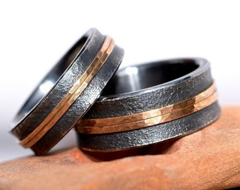 Wedding rings * DUO * silver pink gold blackened hand-forged