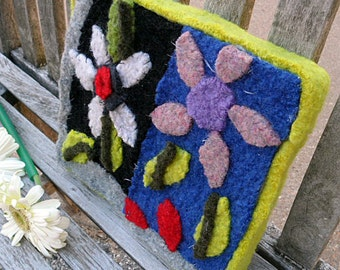 Felted Daisy Wallhanging--Hand felted and hand sewn #19