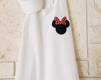 Glitter Minnie Shirt & Hat//Disney Shirt//Epcot Shirt//Minnie Shirt