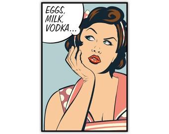 Comic Print, Canvas, Woman Illustration, Vodka, Pop Art, Retro, Large Poster