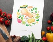 Vegetable Art Print   Recipe Wall Art   8x10 Illustration   Kitchen Decor