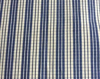 Blue vintage stripe checkerboard fabric sewing, craft, dressmaking material 104 inches x 37 inches, stripes & checks