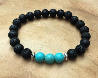 Men's lava and turquoise stone bracelet