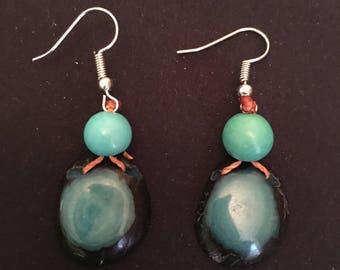 Teal Aqua Blue Tagua Earrings / Tagua Nut Jewelry / Tagua Seed Earrings / Organic Jewelry