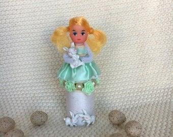 Vintage Thread Spool Easter Girl