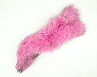 Premium Dyed Fox Tail in Hot Pink