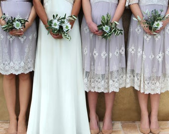 Bespoke Vintage Style Lace Bridesmaids Dresses In Ivory And Blush