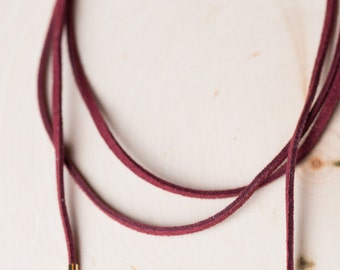 Trendy Suede Choker Set with Gold Bar Tails. Black, Burgundy, Camel, Olive wrap around.
