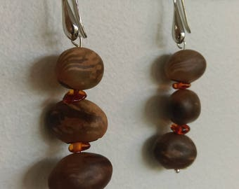 Natural Earrings: beans and amber