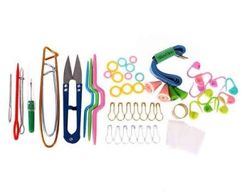 HOT ! 53 PC  Set with  Box ! Knitting Tools Set Crochet Hook Stitch Weave Supplied With Box Yarn Knit Home Knitting