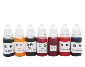 7Pcsx Lo tx 10ml 7 Colors Handmade Soap  Pigments Base Colour Liquid Pigment DIY  Soap Colorant