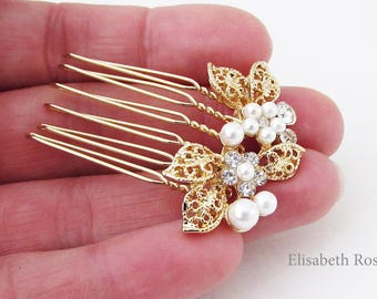 Small Gold and White Pearl Wedding Hair Pin, Small Gold Hair Comb for Wedding, Bridal Pearl Hair Comb, Small Gold Comb Hair Pins for Bride