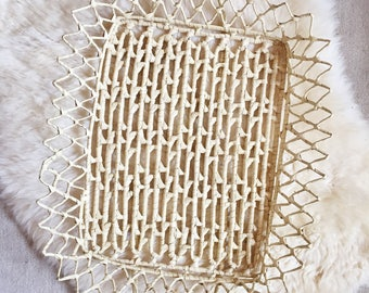 S A L E Vintage Woven Straw Handled Tray // Bohemian Style Decor