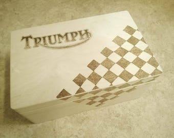 Large wood memor/keepsake box Motorbike makes, unique, personalised wishes and dreams