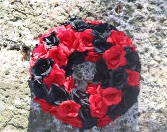 Floral wreath, Paper flowers, Burlesque, Wreath, Flower wreath, Rose Wreath, Wedding decorations, Wedding wreath, Valentines wreath, goth
